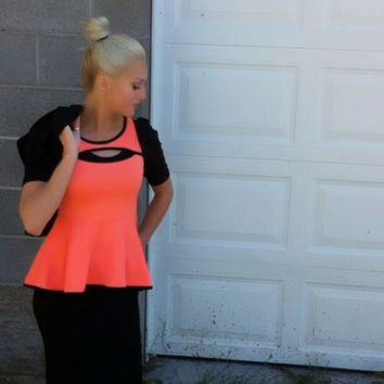Stand Out of the Crowd Peplum Top - Neon Orange