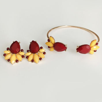 Garnet & Gold FSU Earrings & Bracelet Gameday Set