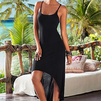 Black Strappy Asymmetrical Hem Dress