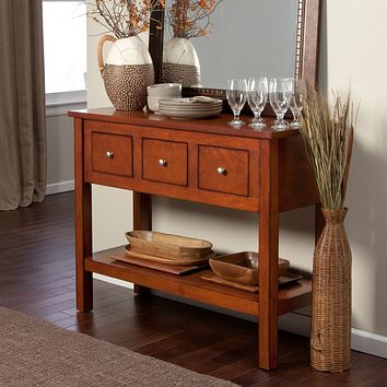 Contemporary 3-Drawer Sideboard Console Sofa Table in Mahogany
