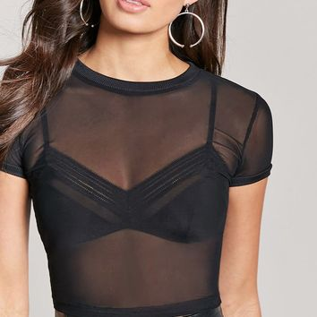 Sheer Mesh Knit Crop Top