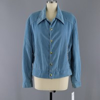 Vintage 1970s Denim Jacket with Braided Trim