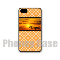 Sunrise on Orange Geometric Iphone 4, 4s, 5, 5s, 5c Personalized iPhone Case #229