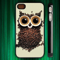coffee owl - iphone case cover- iPhone 4 / iPhone 4S / iPhone 5 / Samsung S2 / Samsung S3 / Samsung S4 Case Cover (AF )