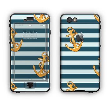 The Navy Striped with Gold Anchors Apple iPhone 6 Plus LifeProof Nuud Case Skin Set