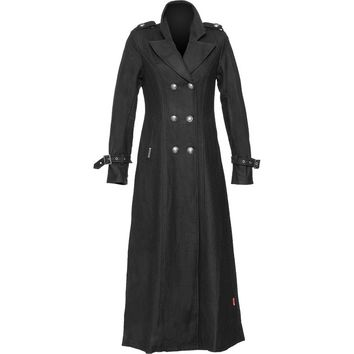 Gothic clothing: military coat for women black wool