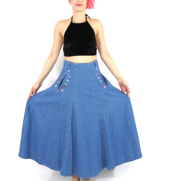 Vintage Denim Maxi Skirt Floral Embroidered Denim Skirt 70s 80s Full Denim Skirt Long Jean Skirt Pockets Boho High Waist Denim Skirt (S/M)