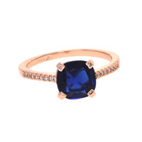 Dear Deer Rose Gold Plated Classic Blue CZ Cocktail Ring