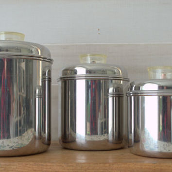 1950s Chrome Revere Ware Canisters, Mid Century Metal Kitchen Canister Set,  Stainless Steel Tea Coffee Canisters