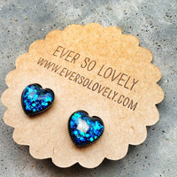 deep blue sea heart earrings - sparkly metallic nickel free post earrings - summer love and shooting stars
