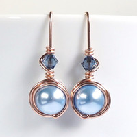 Rose Gold White Light Blue Pearl Earrings, Drop Earrings, Rosegold Swarovski Jewelry, Valentines Gift for Her