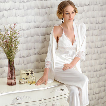 Silk pajamas For Women Noble white robes Lace Pajama Sets Ladies Silk Sleepwear 3Picecs/Set