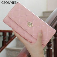 2018 Crown Plaid Long Leather Three Fold Women Wallet Luxury Brand Designer Female Purse For ID Card Holder Phone Bag Day Clutch