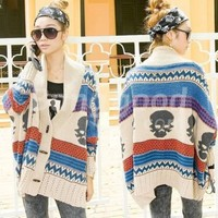 8541# Women's Batwing Ethnic Skull Colorful Stripe Sweater Cape Free Shipping!  - US$29.99