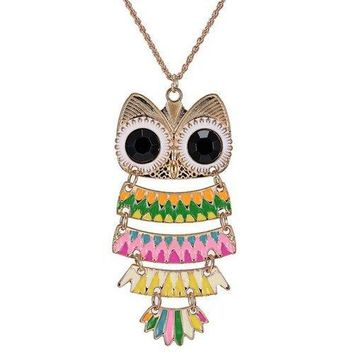Owl Glaze Hollow Out Pendant Sweater Chain - Pink