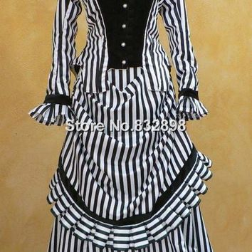 Steampunk Striped Bustle Gown Victorian Historical Costume Dress with Velvet Train