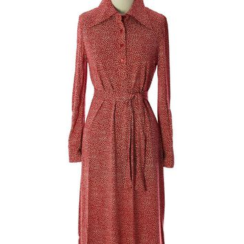 Diane Von Furstenberg 1970s  Vintage Red/Cream Print Button Down Collar Dress L NWT