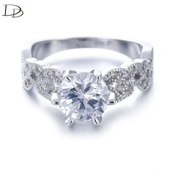 1.5 carat AAA zircon jewelry wedding engagement rings for women vintage 925 sterling silver anel crystal bague leaves DD097