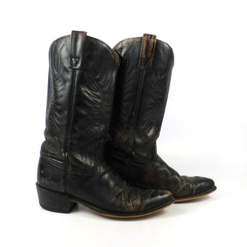 Black Cowboy Boots Vintage 1980s Distressed Acme Leather women's size 7 A