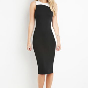 Contrast-Paneled Bodycon Dress