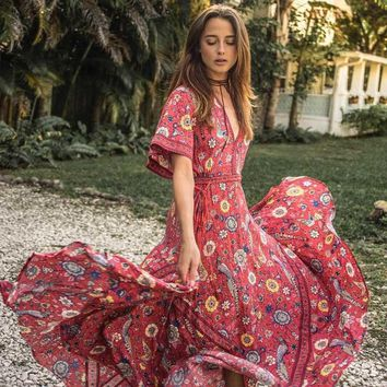 Boho Inspired 2017 summer dresses exotic floral print V-neck maxi dress drawstring waist silhouette long Women's dress vestidos