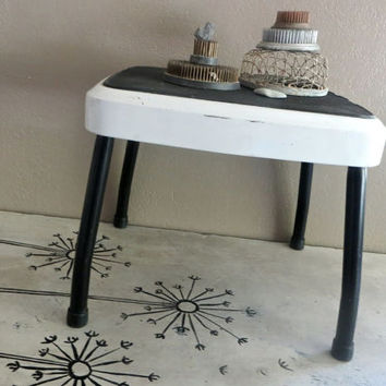 Vintage Stylaire Step Stool Black and White Stool Retro Kitchen Foot Stool Metal Stool Step Ladder Bath Stool Childs Stool Time Out Chair