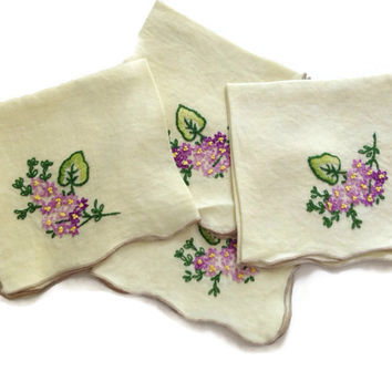 Vintage Hand Embroidered Napkins, Pale Yellow Linen, Purple Flower Embroidery with Green Leaves, Scalloped Edges Finished in Tan Thread