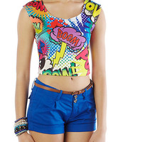 Bright Comic Crop Top - Rainbow
