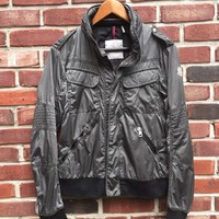 Moncler Gray Washed Moto Quilted Stitch Bomber Zip Up Rain Wind 2 Medium M RARE!