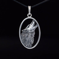 Howling Wolf Pendant, sterling silver, handmade