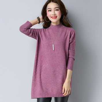 New Style Solid Color All Matched Medium Style Mock Long Sleeve Knitwear Women Pullover Knitted Sweater