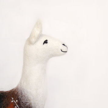 Laura - Felt Llama, Art Marionette, Puppet, Handmade Stuffed Toy. Alpaca, mteam. brown cream white neutral. MADE TO ORDER