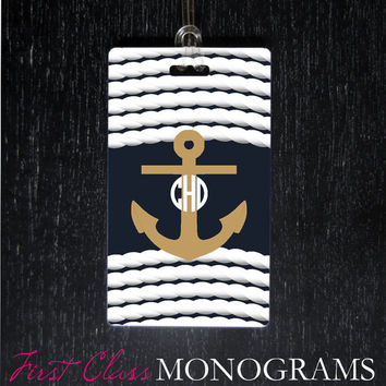 Nautical Anchor Monogram Luggage Tag, Baggage Tag for diaper bag, golf bag, backpack. Preppy Monogrammed Gifts LTM-174