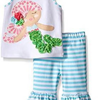 Mud Pie MERMAID RUFFLE CAPRI & TOP SET BABY TODDLER GIRL 9-12M,12-18,2T