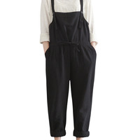 Women's Plus Size Drawstring Waist Loose Fit Casual Overalls