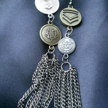 Military Button Chain Earrings by SirensAllure on Etsy
