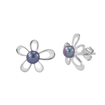Flower Earrings Black Pearl Studs .925 Sterling Silver