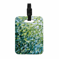 "Ebi Emporium ""Frosted Feathers 3"" Green Yellow Decorative Luggage Tag"