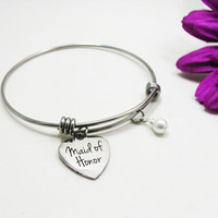 Maid Of Honor Bracelet - Maid Of Honor Charm - Expandable Charm Bracelet - Best Friend Bracelet - Wedding Bracelet - Best Friend Gift