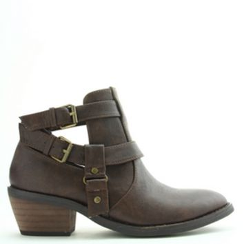 Cut Out Buckle Ankle Boots