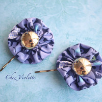 Yoyo Hair clips, Golden button hair pins, blue fabric Bobby pins, hair accessory