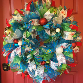 Christmas Wreath - Christmas Deco Mesh Wreath - Winter Wreath - Holiday Wreath