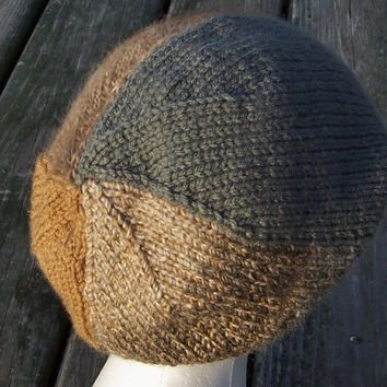 Slouchy Beanie Women's Hand Knit Hat in Caramel and Slate Swirled Design Holiday Gift Stocking Stuffer