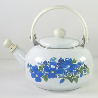 Floral Teapot Kettle by M Carey 1980s