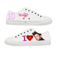 One Direction I Love Louis Tomlinson woman canvas shoes - Size : US 5 6 7 8 9 EUR 36 37 38 39 40