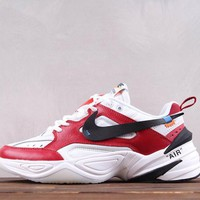 hcxx Nike M2K Tekno X Off White Fashion Causal Running Shoes Sneaker White Red Black