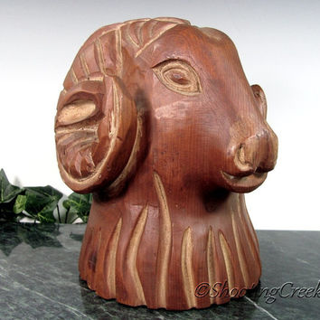 Vintage CARVED WOOD Figural RAM Sculpture Mid Century Folk Art Aires Figure