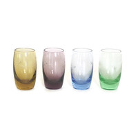 Mid century Jewel tone Blown Glass etched shot glasses PAC Japan Holiday Party