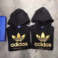 women couple adidas print hoodie sweatshirt tops sweater pullover white