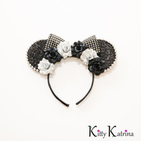 Black Silver Disney Ears Headband, Mouse Ears, Disney Diamond Celebration, Disney Anniversary, Disney Bound, Disney World, Disneyland